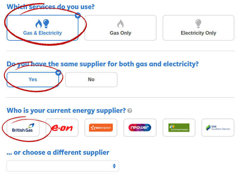 enter supplier, gas and electricity